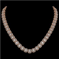 32.64 CTW Cushion Diamond Designer Necklace 18K Rose Gold - REF-5967H6A - 42624