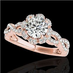 1.69 CTW H-SI/I Certified Diamond Solitaire Halo Ring 10K Rose Gold - REF-179X8T - 34106