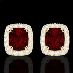 2.50 CTW Garnet & Micro Pave VS/SI Diamond Halo Earrings 10K Yellow Gold - REF-37N6Y - 22865