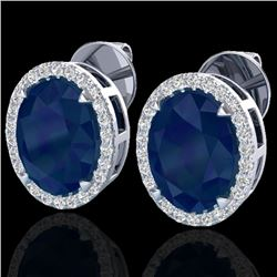 5.50 CTW Sapphire & Micro VS/SI Diamond Halo Earrings 18K White Gold - REF-81W8F - 20259