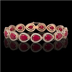 30.06 CTW Ruby & Diamond Halo Bracelet 10K Rose Gold - REF-368X5T - 41238