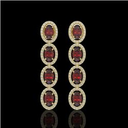6.2 CTW Garnet & Diamond Halo Earrings 10K Yellow Gold - REF-102A5X - 40549