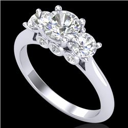 1.5 CTW VS/SI Diamond Solitaire Art Deco 3 Stone Ring 18K White Gold - REF-272T8M - 37313