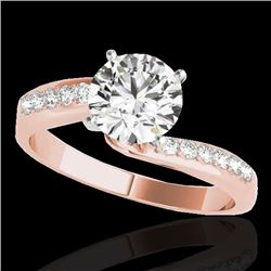 1.15 CTW H-SI/I Certified Diamond Bypass Solitaire Ring 10K Rose Gold - REF-178Y2K - 35064
