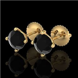 1.5 CTW Fancy Black Diamond Solitaire Art Deco Stud Earrings 18K Yellow Gold - REF-45W3F - 38236