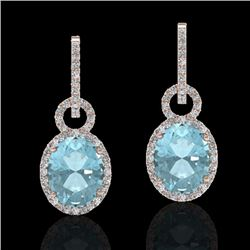 6 CTW Aquamarine & Micro Pave Halo VS/SI Diamond Earrings 14K Rose Gold - REF-125Y5K - 22729