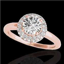 1.43 CTW H-SI/I Certified Diamond Solitaire Halo Ring 10K Rose Gold - REF-169K3W - 33662