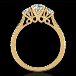 1.67 CTW VS/SI Diamond Solitaire Art Deco 3 Stone Ring 18K Yellow Gold - REF-281T8M - 37030