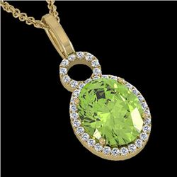 3 CTW Peridot & Micro Pave Solitaire Halo VS/SI Diamond Necklace 14K Yellow Gold - REF-53W6F - 22767