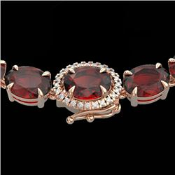 45.25 CTW Garnet & VS/SI Diamond Eternity Tennis Micro Halo Necklace 14K Rose Gold - REF-209F3N - 40