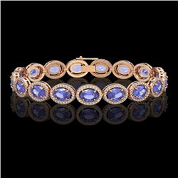 21.35 CTW Tanzanite & Diamond Halo Bracelet 10K Rose Gold - REF-353H6A - 40611