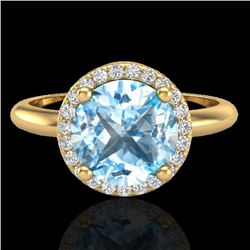 2.70 CTW Sky Blue Topaz & Micro VS/SI Diamond Ring Designer Halo 18K Yellow Gold - REF-58W9F - 23216