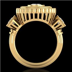 2.62 CTW VS/SI Diamond Solitaire Art Deco 3 Stone Ring 18K Yellow Gold - REF-343K5W - 37090
