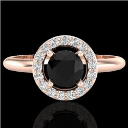 0.70 CTW Micro Pave Halo Solitaire VS/SI Diamond Ring 14K Rose Gold - REF-47W8F - 23286