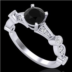 1.03 CTW Fancy Black Diamond Solitaire Engagement Art Deco Ring 18K White Gold - REF-80M2H - 37674