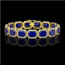 38.61 CTW Sapphire & Diamond Halo Bracelet 10K Yellow Gold - REF-392X4T - 41530