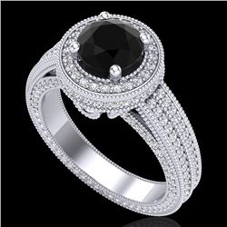 2.8 CTW Fancy Black Diamond Solitaire Engagement Art Deco Ring 18K White Gold - REF-236H4A - 38003