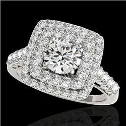 2.05 CTW H-SI/I Certified Diamond Solitaire Halo Ring 10K White Gold - REF-225W5F - 34585