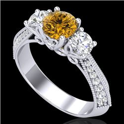 1.81 CTW Intense Fancy Yellow Diamond Art Deco 3 Stone Ring 18K White Gold - REF-236F4N - 38029