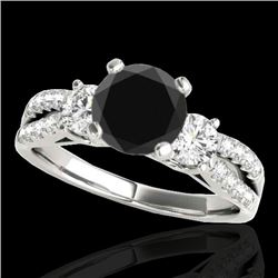 1.5 CTW Certified VS Black Diamond 3 Stone Ring 10K White Gold - REF-69Y3K - 35406