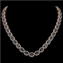 55.41 CTW London Topaz & Diamond Halo Necklace 10K Rose Gold - REF-576T2M - 40590