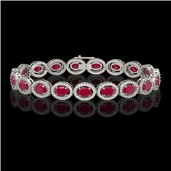 15.2 CTW Ruby & Diamond Halo Bracelet 10K White Gold - REF-255W3F - 40454