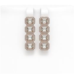 5.92 CTW Emerald Cut Diamond Designer Earrings 18K Rose Gold - REF-1259A6X - 42846
