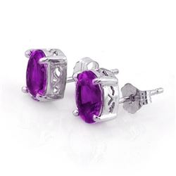1.50 CTW Amethyst Earrings 18K White Gold - REF-14M2H - 10115