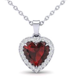 1 CTW Garnet & Micro Pave VS/SI Diamond Heart Necklace Halo 14K White Gold - REF-28K4W - 21339