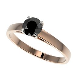0.75 CTW Fancy Black VS Diamond Solitaire Engagement Ring 10K Rose Gold - REF-23T5M - 32975