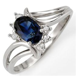 0.70 CTW Blue Sapphire & Diamond Ring 10K White Gold - REF-16H4A - 10447