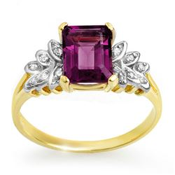 1.52 CTW Amethyst & Diamond Ring 10K Yellow Gold - REF-19A3X - 12651