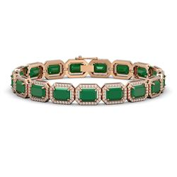 26.21 CTW Emerald & Diamond Halo Bracelet 10K Rose Gold - REF-368N8Y - 41379