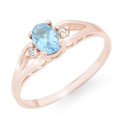0.53 CTW Blue Topaz & Diamond Ring 14K Rose Gold - REF-14F9N - 12497