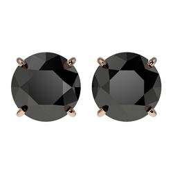 2.60 CTW Fancy Black VS Diamond Solitaire Stud Earrings 10K Rose Gold - REF-52A8X - 36684