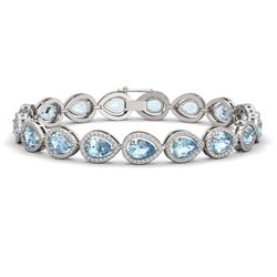15.74 CTW Aquamarine & Diamond Halo Bracelet 10K White Gold - REF-345K5W - 41114