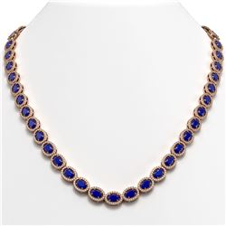 34.11 CTW Sapphire & Diamond Halo Necklace 10K Rose Gold - REF-537Y5K - 40407