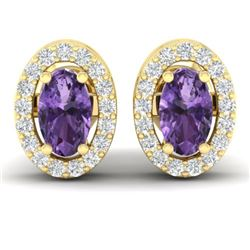 0.75 CTW Amethyst & Micro Pave Earrings Halo 18K Yellow Gold - REF-34T5M - 21178