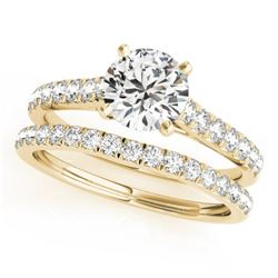 1.61 CTW Certified VS/SI Diamond Solitaire 2Pc Wedding Set 14K Yellow Gold - REF-225Y6K - 31702