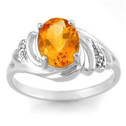 2.04 CTW Citrine & Diamond Ring 18K White Gold - REF-32F5N - 10699