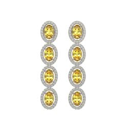 5.4 CTW Fancy Citrine & Diamond Halo Earrings 10K White Gold - REF-102N2Y - 40544