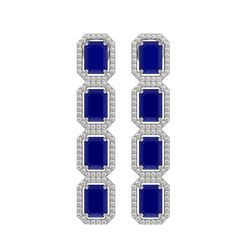 12.33 CTW Sapphire & Diamond Halo Earrings 10K White Gold - REF-158F4N - 41432