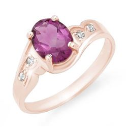 1.26 CTW Amethyst & Diamond Ring 18K Rose Gold - REF-32M8H - 12503