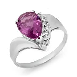 1.67 CTW Amethyst & Diamond Ring 10K White Gold - REF-18W2F - 12473