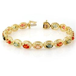 12.90 CTW Multi-Color Sapphire Bracelet 10K Yellow Gold - REF-85K3W - 11706