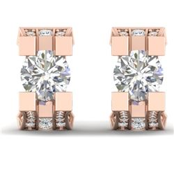 2.25 CTW Certified VS/SI Diamond Art Deco Stud Micro Earrings 14K Rose Gold - REF-233X5T - 30289