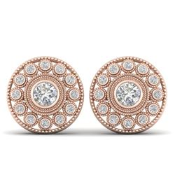 1.11 CTW Certified VS/SI Diamond Art Deco Stud Earrings 14K Rose Gold - REF-134F5N - 30466