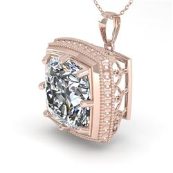 1 CTW VS/SI Cushion Cut Diamond Solitaire Necklace 18K Rose Gold - REF-332H8A - 36005
