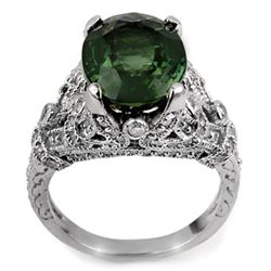 7.10 CTW Green Tourmaline & Diamond Ring 14K White Gold - REF-161A5X - 11408