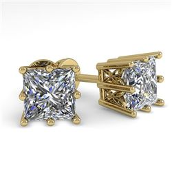 1.0 CTW VS/SI Princess Diamond Stud Solitaire Earrings 18K Yellow Gold - REF-178K2W - 35830